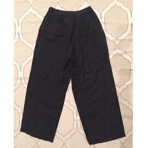 Flax Black Linen Lagenlook Petite Pants
